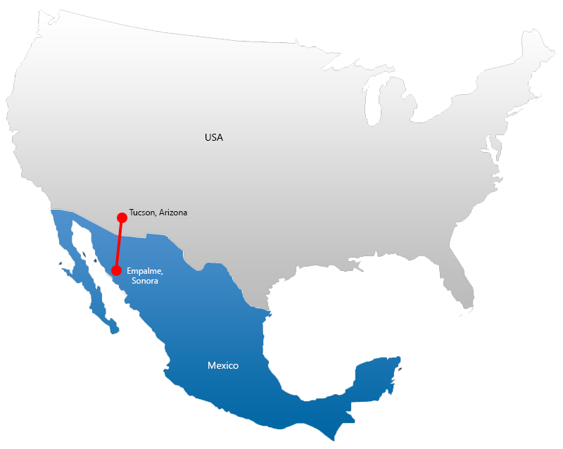 Map highlighting manufacturing in Emplame, Sonora, Mexico