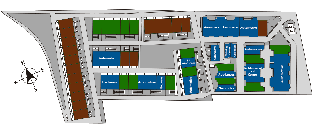 Park Layout showing industrial real estate in Saltillo at the La Angostura Manufacturing Community