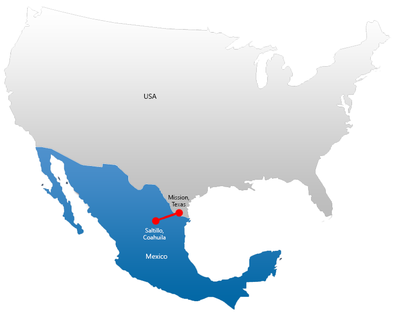 Map Showing Manufacturing in Saltillo, Coahuila Mexico