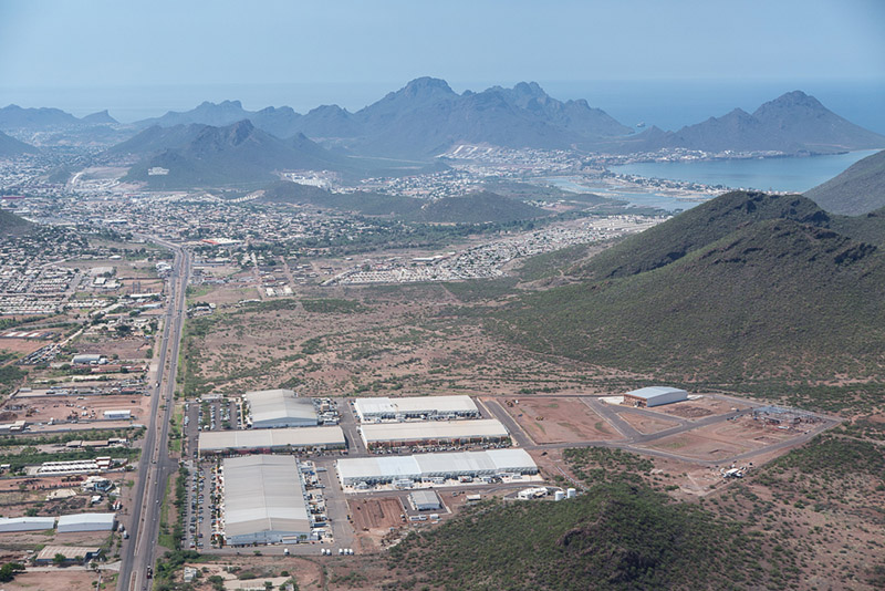 Aerial View of The Roca Fuerte Manufacturing Community in Guaymas, Sonora, Mexico