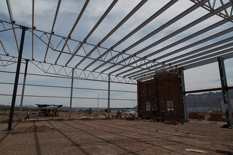 New Building Construction in Mexico at the Roca Fuerte Manufacturing Community in Guaymas