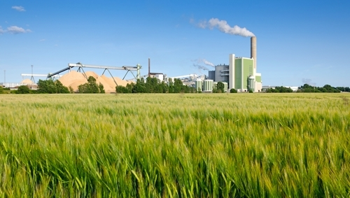 A lush green field with a large manufacturing facility in the background behind the field.