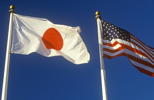 I view od two flags waving in the sky: The japanese flag, and the American flag.