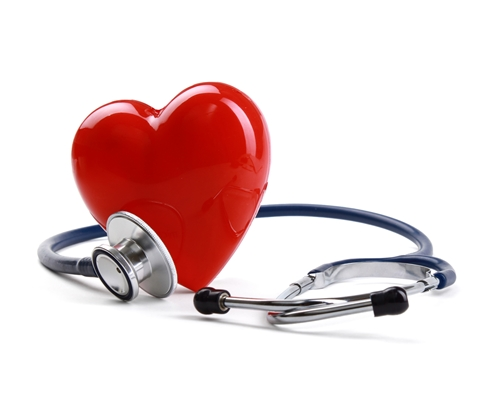 A picture of a large read heart with a stethoscope rapped around it.