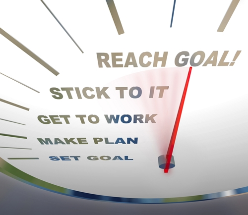 There is a dial with phrases such as reach goal and make plan on it.