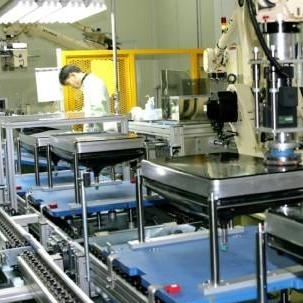 There is a state of the art factory with automized machines helping to facilitate the manufacturing process.