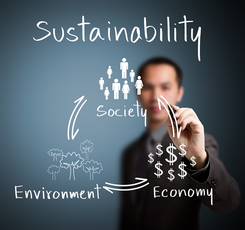 A view at a man writing society, environment, and economy, all under the word sustainability.