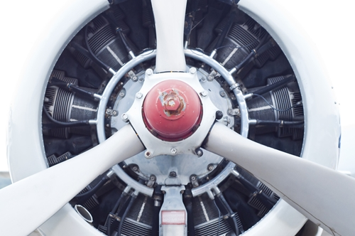 Picture of airplane turbine that has been manufactured in Mexico within the growing aerospace industry.