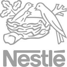 A view at the Nestle logo in a gray coloring.