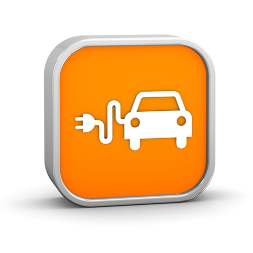 A view at the icon of a mobile phone application that has a car with a plug to recharge it.