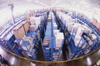 A fish eyed view of a large warehouse where many different types of items are stored.