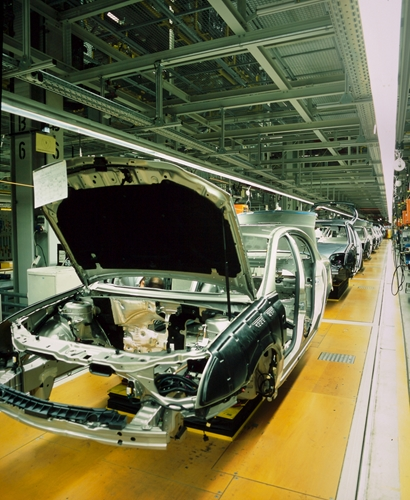 There is newly manufactured shell of an automobile.