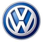 There is a large picture of the volkswagen logo.